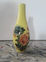 Vintage yellow porcelain polychrome ceramic flower vase Taiwan stamp