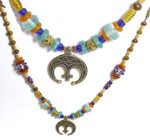 edle Wikingerkette Fibelkette mit Lunula Bronze Knochenperlen Wickelperle Glas