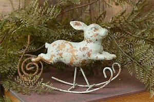 "Primitive/Farmhouse Patina Resin Rocking Rabbit/Bunny 4"" x 5.25"" Free Ship"