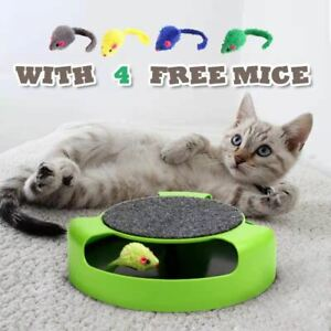 Interactive Cat Toys Mouse Catch Kitten Toy 4x Extra Running Mice Scratching Pad