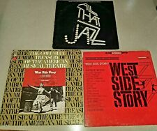 """New listing 3 Piece Vinyl 12"""" Record Musicals Broadway West Side Story Chicago All that Jazz"""