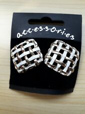 BNWT - Accessories - Square White/Gold Tone Trellis Design Stud Earrings