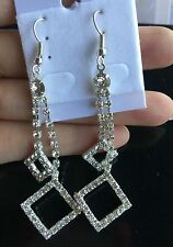 square crystal luxury sparkling silver drop earrings for women valentine's day