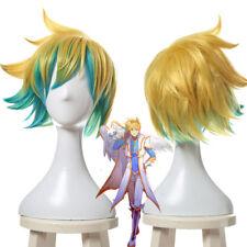LOL Star Guardian EZ Ezreal Cosplay Wig Short Golden Blue Mixed Color USA Ship