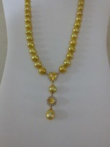 "Golden FW Cultured Pearl Citrine Y-Style Necklace 23""L 8.5-9.5mm 925 Gold Plate"