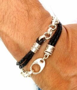 chain link chunky black leather bracelet  925 sterling silver men cuff bangle