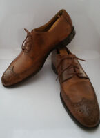 Saks Fifth Avenue Tavis Men 9.5 M Brown Leather Wingtip Oxford Dress Shoes Italy