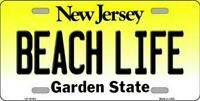 Beach Life New Jersey State Background Novelty License Plate