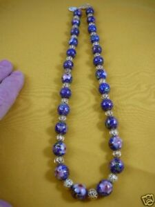 (v259-20) Blue brass Cloisonne traditional beaded bead Necklace JEWELRY fashion