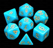 New 7 Piece Polyhedral Dice Set - Cursed Tides Opaque Turquoise - Turquoise Bag
