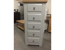 HAMPSHIRE PAINTED 5 DRAWER WELLINGTON CHEST /SOLID PINE - SOLID OAK - PAV GRAY