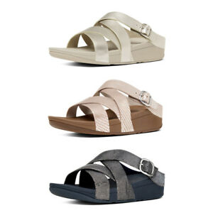 FitFlop The Skinny Criss Cross Slide leather Sandals RRP £70!