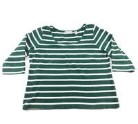 Liz Claiborne Womens Top Large Green White Striped Cotton Shirt 3/4 Sleeve Soft
