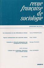 REVUE FRANÇAISE DE SOCIOLOGIE JANVIER-MARS 1996, XXXVII