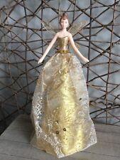 Gisela Graham gold glitter patterned tree top Christmas fairy angel 28.5cm