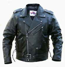 Motorcycle Leather Jacket-*PACKED WITH FEATURES*-Oz Biker- BRANDO -  Size:Large