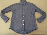 Mens Polo Ralph Lauren Plaid Dress Shirt L Large Custom Navy Blue Button Cotton