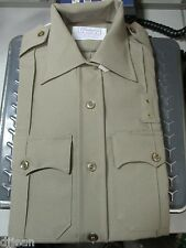 Conqueror W1468 Khaki Long Sleeve Police Uniform Shirt Size Mens 32R