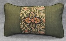 Pillow made w Ralph Lauren Rutherford Park Tapestry & Green Cotton Fabric / Cord