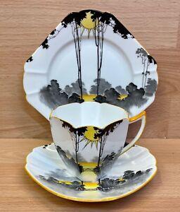 "Shelley Queen Anne Shape ""Sunrise & Tall Trees"" Pattern 11678 Tea Cup Trio."
