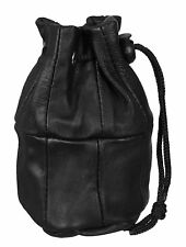 Ladies Gents Leather Drawstring Wrist Pouch Money Change Coin Holder HQ Bag New
