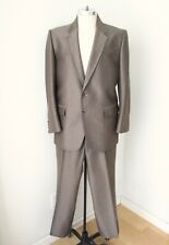 VGC Silverado Bronze Brown Textured Stripe Shiny Sharkskin 2-Pc Western Suit 42