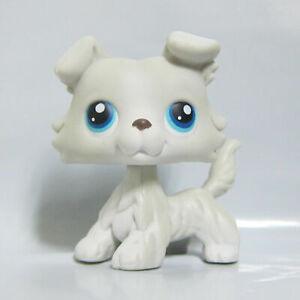 Littlest Pet Shop LPS Toy #363 White Grey Collie Dog Puppy Double Blue Eyes B2