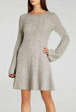"$228 BCBG LT HEATHER GREY ""HOSHI"" CABLE LONG SLEEVE SWEATER DRESS NWT M"