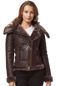 Ladies Real Sheepskin Jacket Shearling fur Short Fitted Brown Biker Stylish NV43
