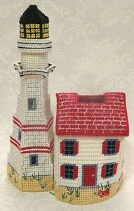 Vintage Hand Made Needlepoint Tissue Box Cover Lighthouse Beach Ocean Nautical