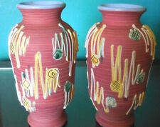 """Elbee Italy Art Pottery (2) Matching Vase 7"""" Applied Art Glaze Numbered & Signed"""