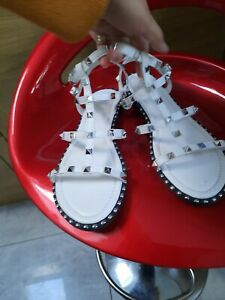 Gladiator Sandals Flats beaded Strappy Summer Comfy Shoes Size 8 UK White