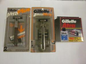 NOS 1985 & 1990 Gillette ATRA Plus Razor Pair w 14 Cartridges Vtg New Unused NIP