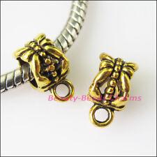 10Pcs Antiqued Gold Flower Bail Bead Fit Bracelet Charms Connectors 6.5x11.5mm