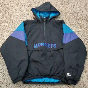 Vintage 90s Starter Charlotte Hornets Pullover Puffer Jacket Coat Size Large