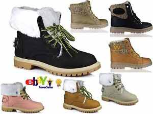 LADIES WINTER WARM BUKLE HI LACE UP COLLAR FUR LINED LADIES ANKLE BOOT SIZE 3-8