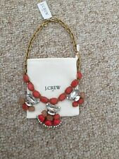 New! J Crew Factory Clusters Necklace Spiced Orange Stone Crystal Nwt & Dust Bag