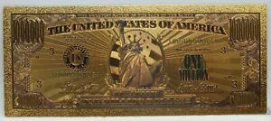 "$1000000 Million Dollar Miss Liberty Novelty 24K Gold Plated Note Bill 6"" LG322"