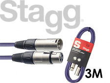 Stagg Microphone Mic Cable SMC3 3 Meter XLR Male to XLR Female PURPLE - FREE P&P
