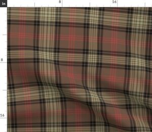 Plaid Brown Tartan Hunting Gingerbread Ross Spoonflower Fabric by the Yard