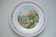 """Vt. Currier & Ives Spring 8"""" Plate People Fence House Trees Gold Accents"""