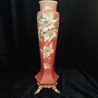 Antique Nakara Art Glass Vase - Victorian Antique CF Monroe Hand Painted Vase