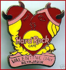 Hard Rock Cafe REYKJAVIK 1999 Valentine's Day PIN Kissing Heart w/ PINK Banner