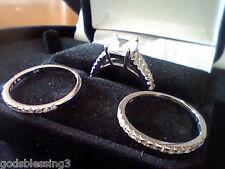 A PRINCESS & ROUND LCS* DIAMOND WEDDING ENGAGEMENT 3 PC RING SET SZ 6