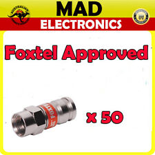50 x Compression Crimp RG6 Coaxial F Type Connector Foxtel Approved F30574 Bulk