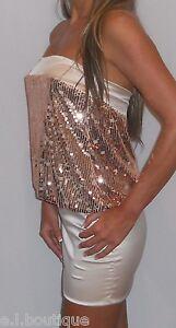 VICKY MARTIN gold ivory strapless sequin satin bodycon mini dress BNWT 10 12