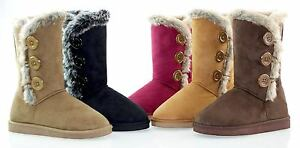Latest Fashion Women Fur Lined Shearling Cold-weather Mid Calf Snow Boot Shoes …