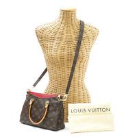 Louis Vuitton Pallas BB M41241 Monogram Hand Bag 2way Shoulder Brown Red Leather