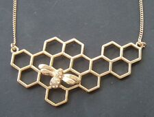 "GOLD 3"" HONEYCOMB & QUEEN BEE PENDANT INSECT BUG BUMBLEE NECKLACE"