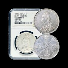 1887 Britain Double Florin (Silver) - NGC UNC (Roman 1 Variety)